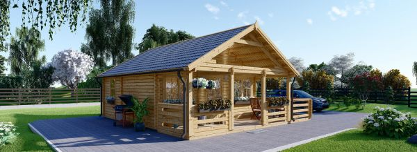 Log Cabin ANGERS (44 mm), 36 m² With 19 m² Terrace