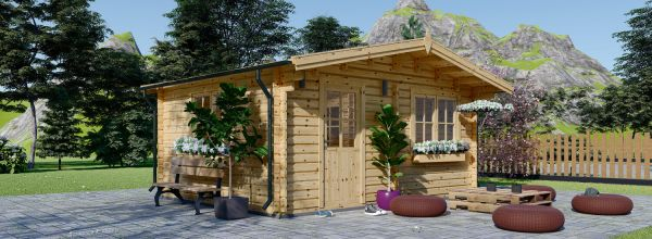 Insulated Log Cabin NINA 6m x 6m (20x20 ft) Twin Skin