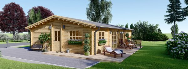 Log Cabin House LIMOGES 7.6m x 13.6m (25x45 ft) 66 mm