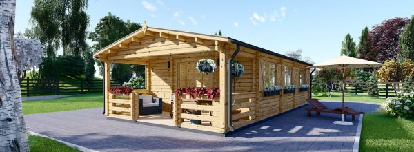 Residential Log Cabin HYMER (44+44 mm + Insulation), 42 m² With 10 m² Terrace