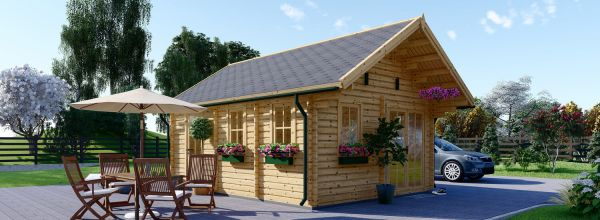 Insulated Residential Log Cabin SCOOT 4.5m x 6m (15x20 ft) Twin Skin