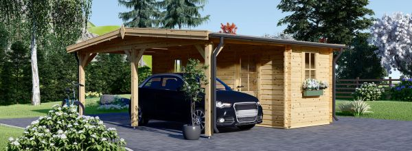 Single Wooden Carport With Shed 5m x 6m (16x20 ft) 44 mm