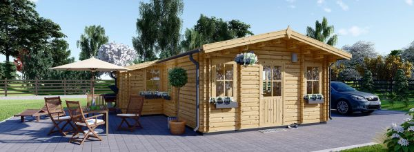 Insulated Residential Log Cabin DIJON 6.6m x 7.8m (22x26 ft) Twin Skin