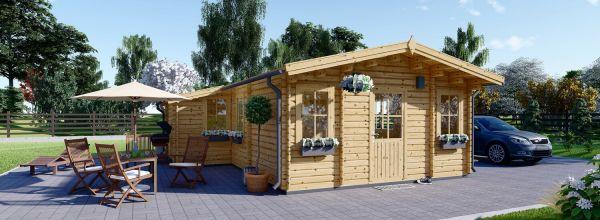 Residential Log Cabin DIJON 6.6m x 7.8m (22x26 ft) 44 mm