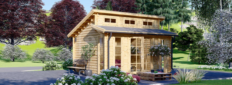 Log Cabin ALABAMA 4.5m x 4.5m (15x15 ft) 44 mm visualization 1