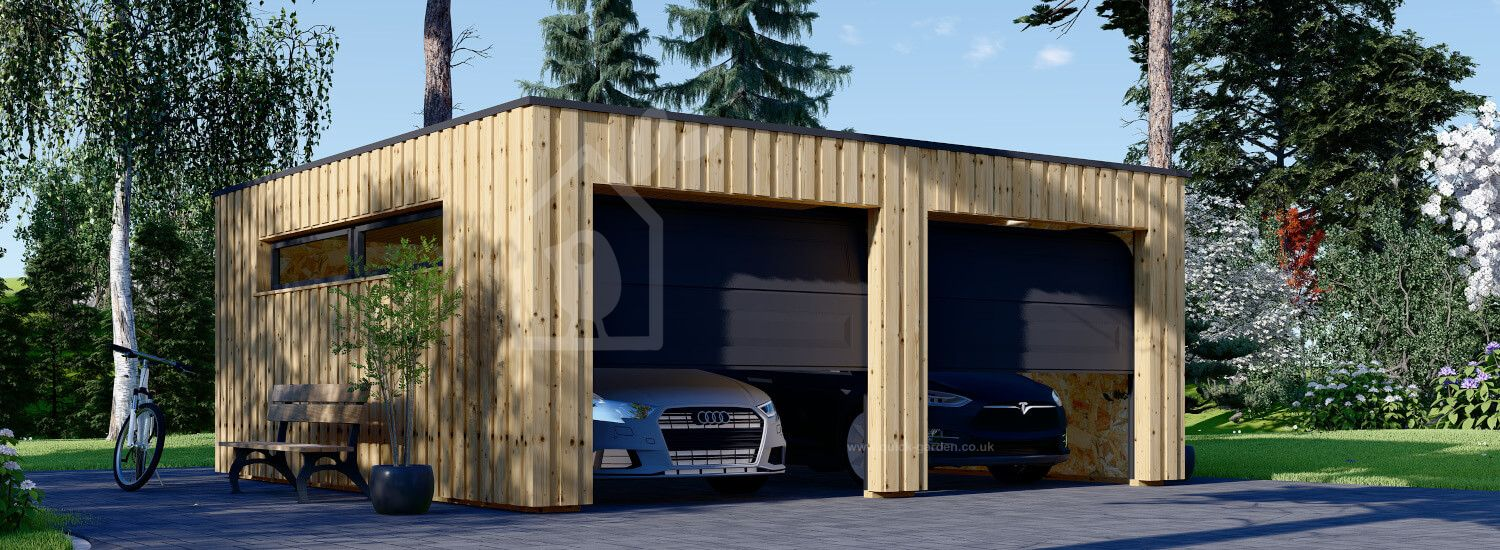 Double Wooden Garage With Flat Roof STELA DUO F (Timber Frame), 6x6 m (20'x20'), 36 m² visualization 1