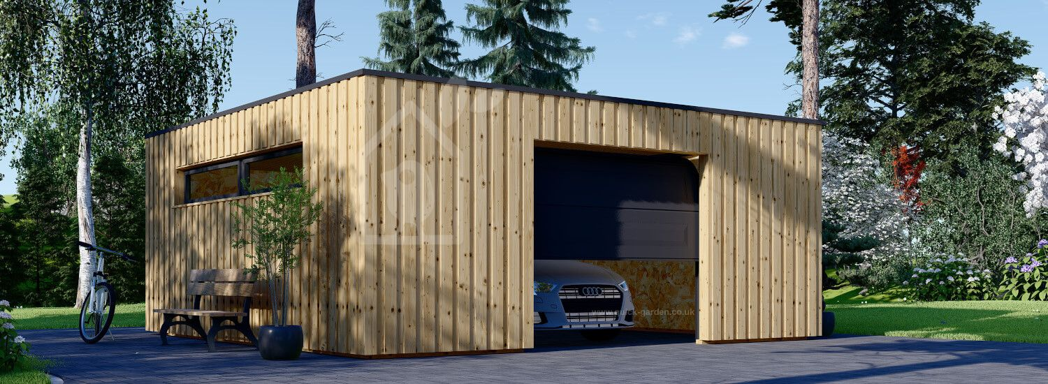 Single Wooden Garage With Flat Roof STELA F (Timber Frame), 6x6 m (20'x20'), 36 m² visualization 1