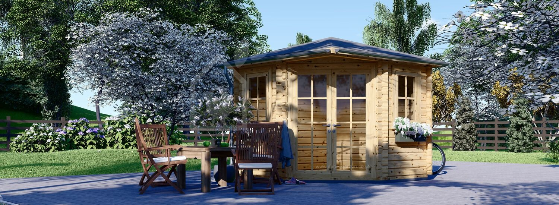 Garden Log Cabin AIDA (28 mm), 3x3 (10'x10'), 9 m² visualization 1