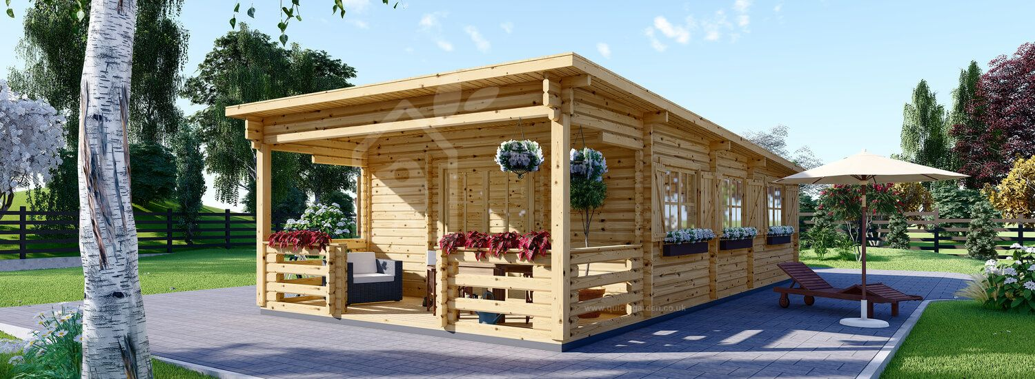 Residential Log Cabin With A Flat Roof And Terrace HYMER (44+44 mm + Insulation PLUS, BRF), 42 m² + 10 m² visualization 1