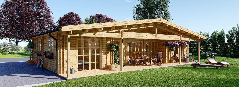 Log Cabin House RIVIERA 13m x 9m (43x30 ft) 66 mm visualization 1