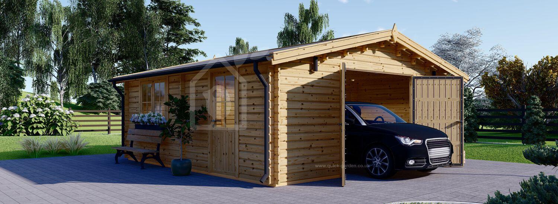 Single Wooden Garage (44 mm), 6x6 m (20'x20') visualization 1