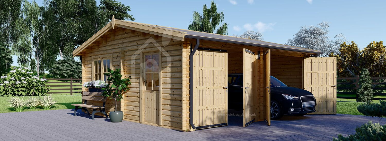 Double Wooden Garage ALTERNATIVE (44 mm), 6x6 m (20'x20') visualization 1