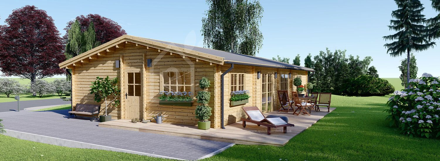 Insulated Log Cabin House LIMOGES 7.6m x 13.6m (25x45 ft) Twin Skin visualization 1