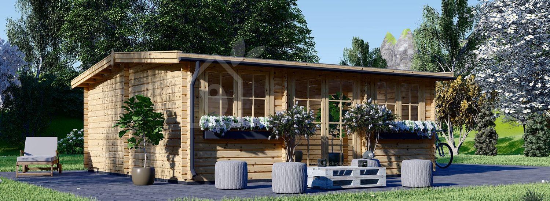 Garden Log Cabin SARAH 6.4m x 5.75m (21 x19 ft) 44 mm visualization 1