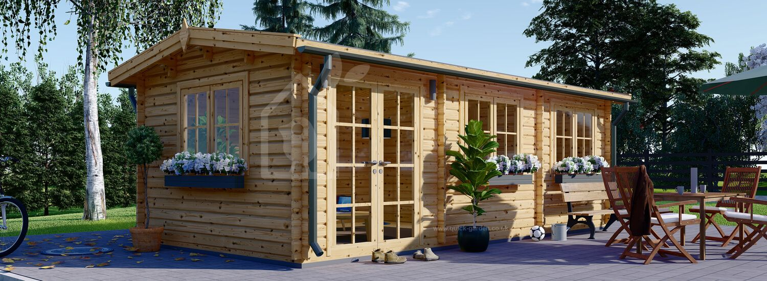 Log Cabin NORA 7m x 3.5m (23x11 ft) 44 mm visualization 1