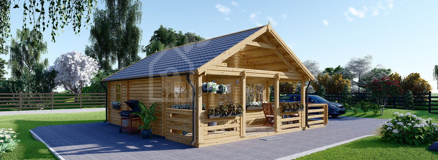 Log Cabin ANGERS (44 mm), 36 m² With 19 m² Terrace visualization 1
