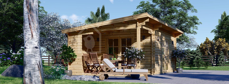 Log Cabin CARL (34 mm), 5x4 m (16'x13'), 20 m² + 8 m² Terrace visualization 1