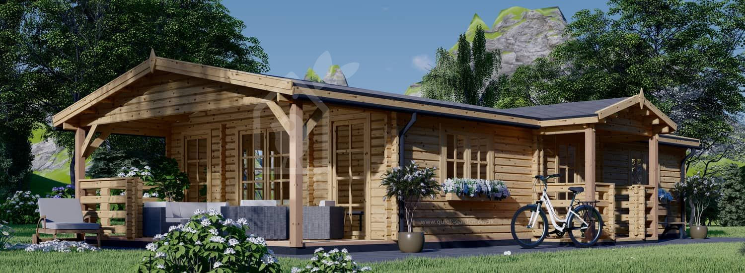 Residential Log Cabin DONNA (44+44 mm + Insulation PLUS, BRF), 63 m² With 11.5 m² Terrace visualization 1