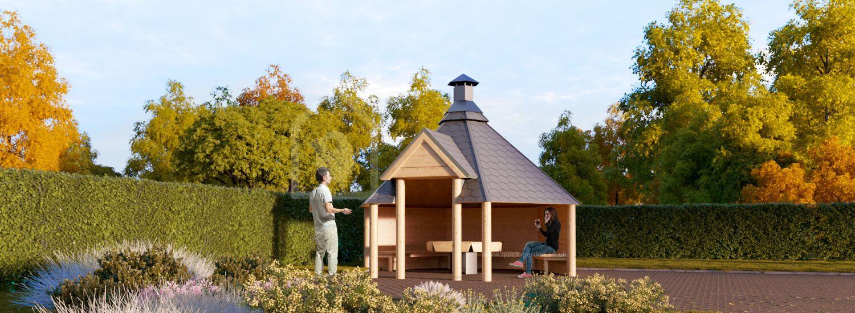 BBQ Hut KOTA 9 Open (44 mm), 3.8x3.3 m (13'x11'), 9.2 m² visualization 1