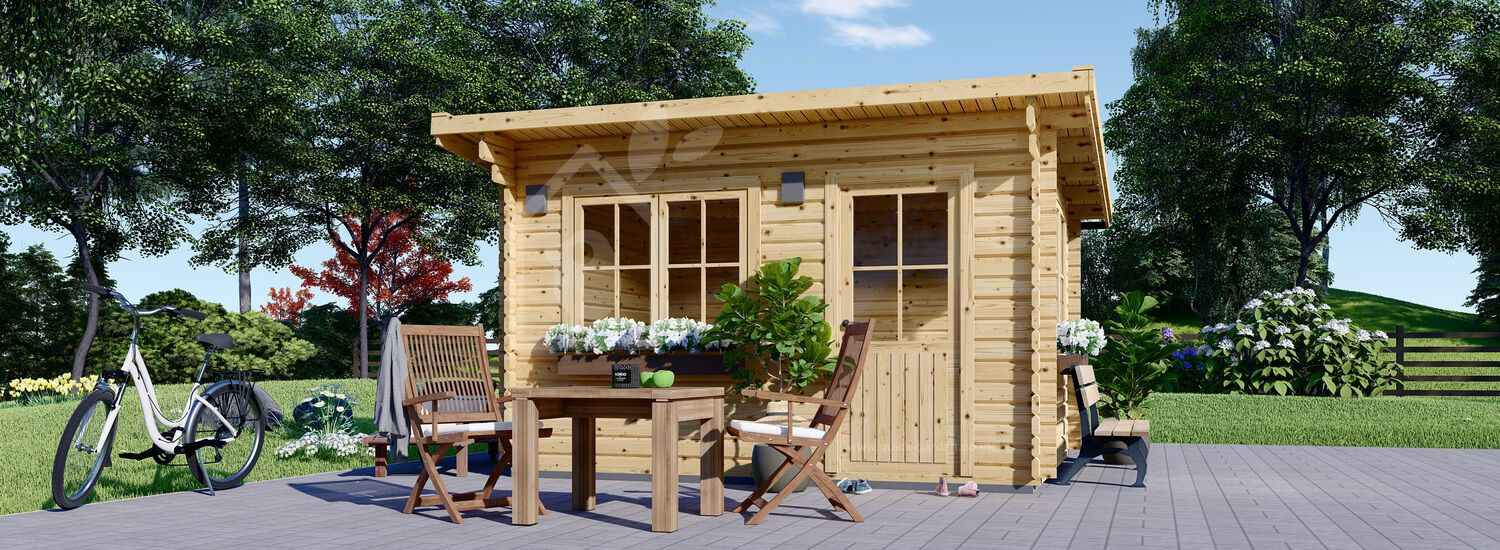 Garden Log Cabin With A Flat Roof DREUX 4m x 3m (13x10 ft) 44 mm visualization 1