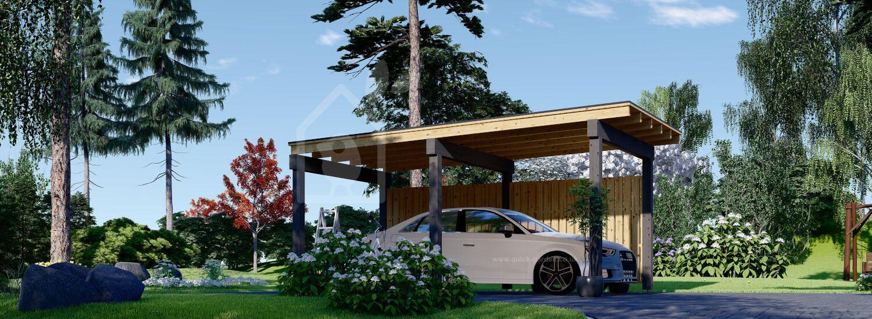 Single Wooden Carport LUNA F With A Side Wall 3.2x6 m (10'x20') visualization 1