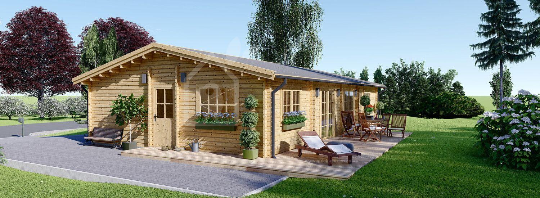 Log Cabin House LIMOGES (44+44 mm + Insulation PLUS, BRF), 103 m² visualization 1