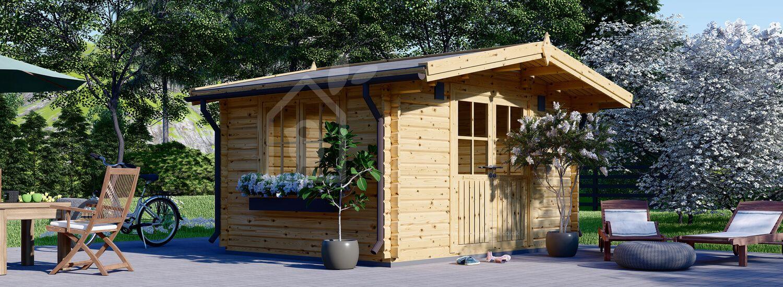 Garden Log Cabin RENNES (34 mm), 4x3 m (13'x10'), 12 m² visualization 1