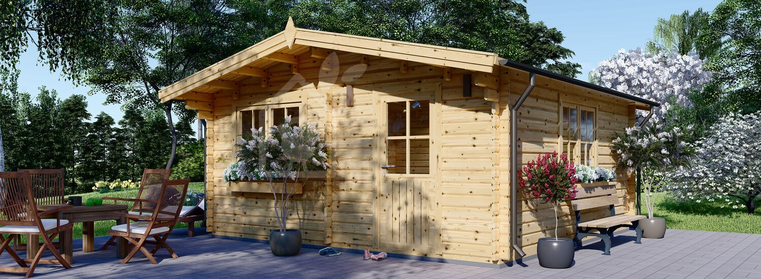 Insulated Log Cabin DREUX 6m x 6m (20x20 ft) Twin Skin visualization 1