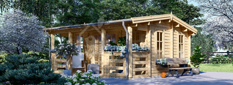 Log Cabin ROYAL (44 mm), 5x5 m (16'x17'), 25 m² visualization 1