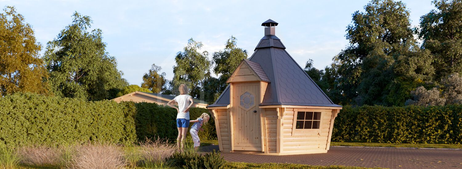 BBQ Hut 3.3m x 2.8m (11x9 ft) 44 mm 7 m² visualization 1