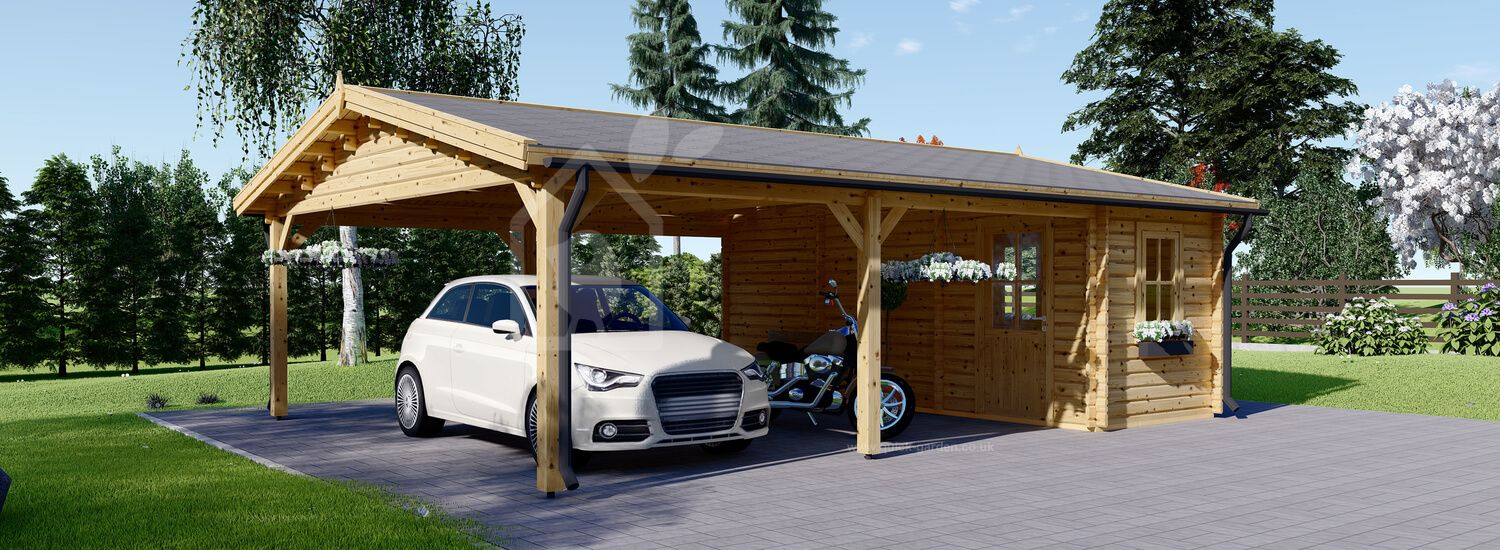Double Wooden Carport 7.7x 6m (25'x20') With Shed (44 mm) visualization 1