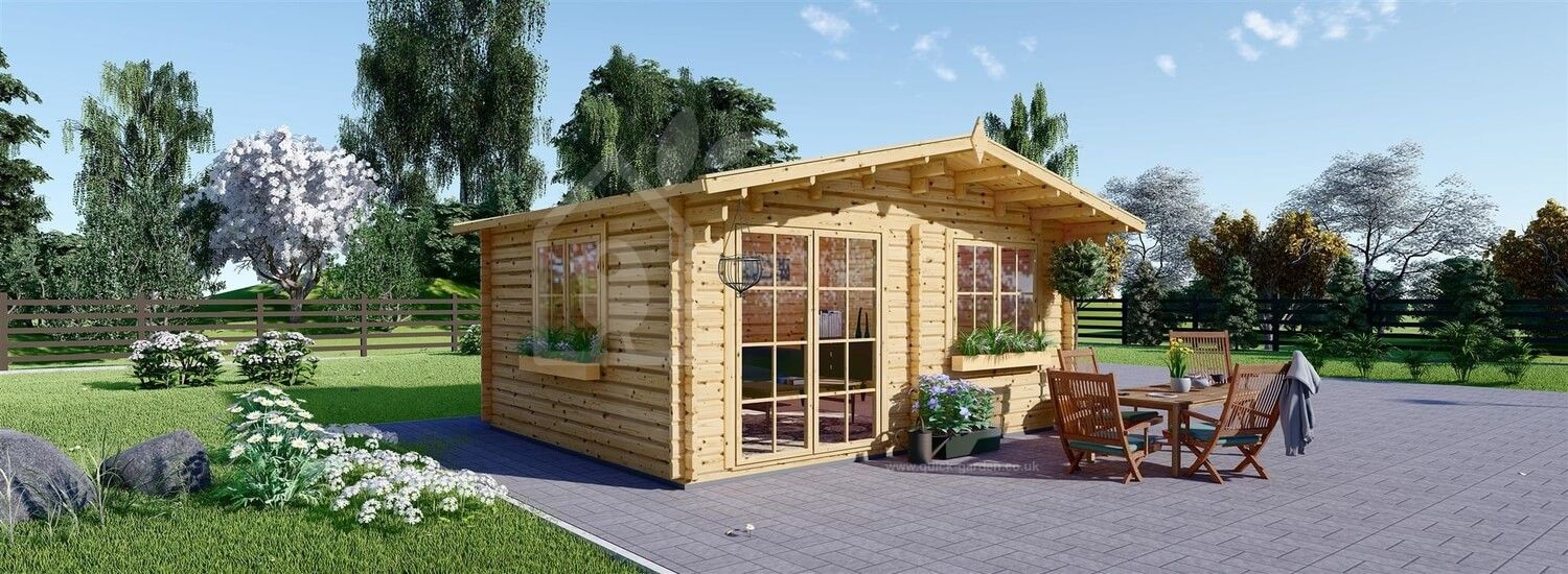 Insulated Garden Log Cabin WISSOUS 5m x 3m (16x10 ft) Twin Skin visualization 1