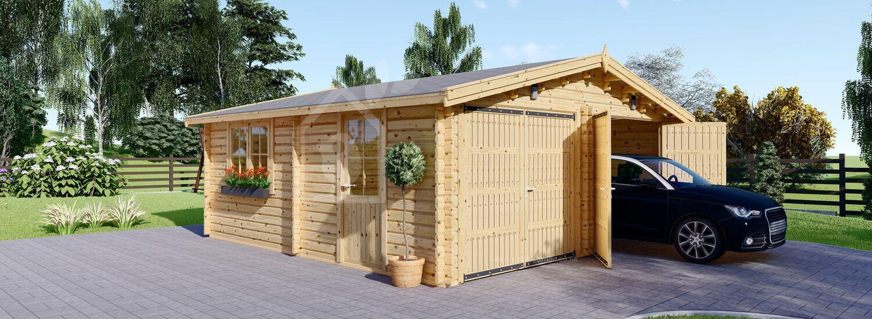 Double Wooden Garage 6m x 6 m (20x20 ft) 44 mm  visualization 1