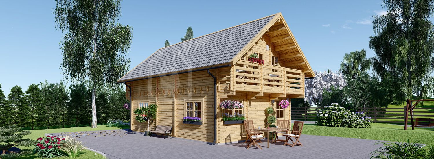 Log Cabin House LANGON 6m x 8.7m (20x29 ft) 66 mm visualization 1