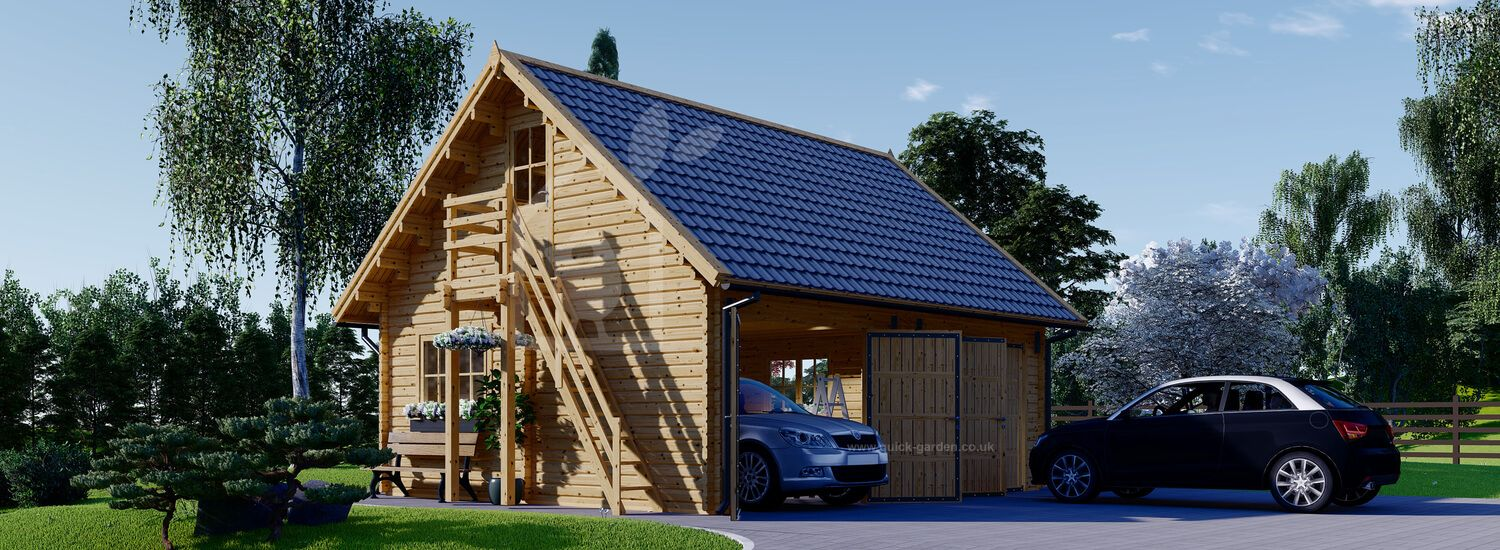 Double Wooden Garage with Loft (66 mm), 6x7 m (20'x23') visualization 1