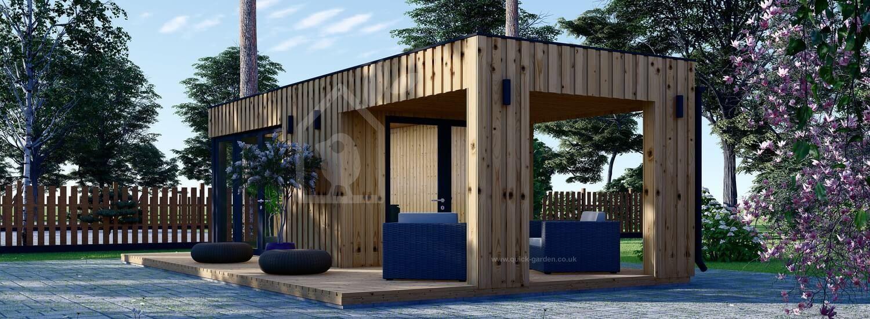 Garden Office PREMIUM (SIP Panels), 5x3 m (16'x10'), 15 m² With 9 m² Terrace visualization 1
