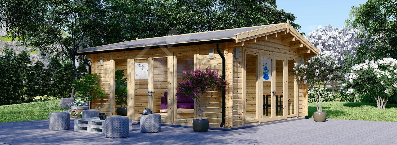 Garden Log Cabin MIA (44+44 mm), 5.5x5.5 m (18'x18'), 30 m² visualization 1