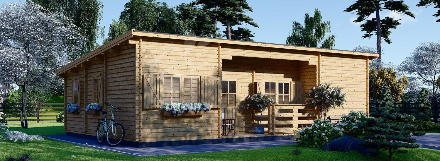 Log Cabin House With A Flat Roof UZES F (44 mm), 70 m² visualization 1