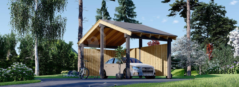Single Wooden Carport LUNA With L-shape Wall 3.2x6 m (10'x20') visualization 1
