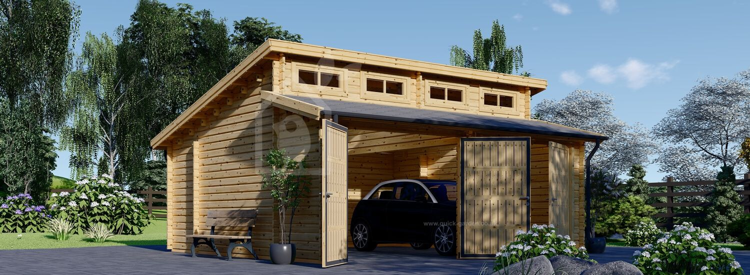 Double Wooden Garage TWIN 6m x 6m (20x20 ft) 44 mm visualization 1