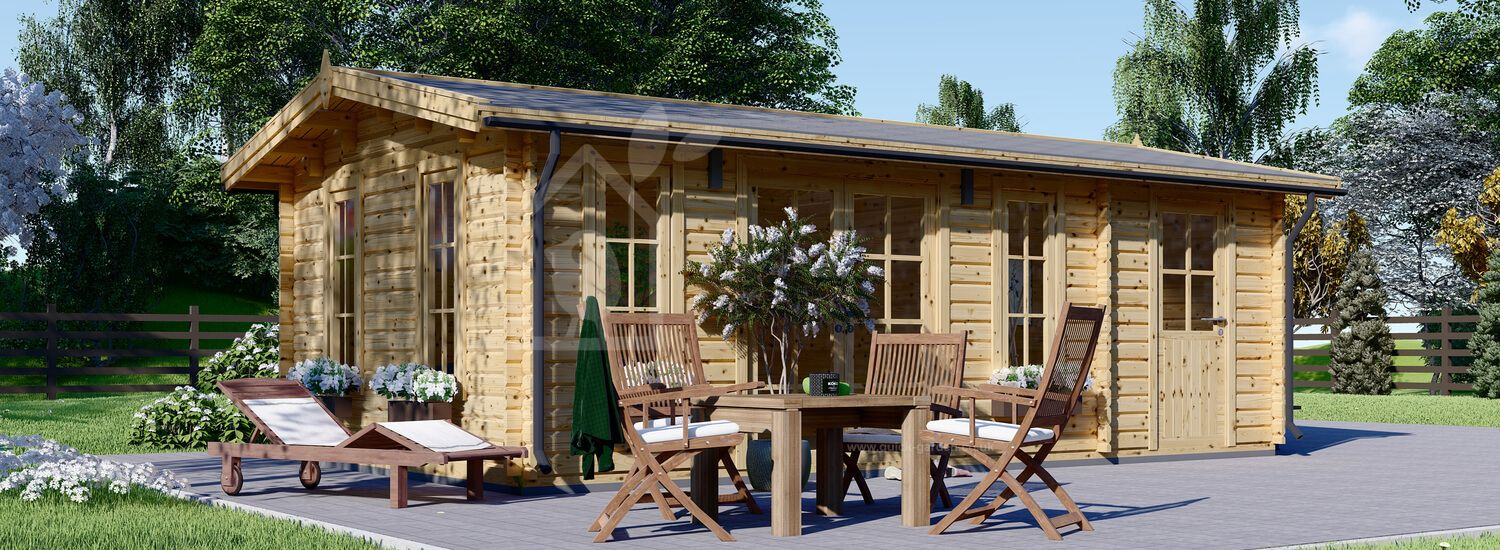 Log Cabin LEA With Shed Attached (44 mm), 7x4 m (23'x13'), 28 m² visualization 1