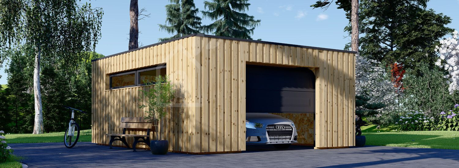 Single Wooden Garage With Flat Roof STELA F (Timber Frame), 5x6 m (16'x20'), 30 m² visualization 1