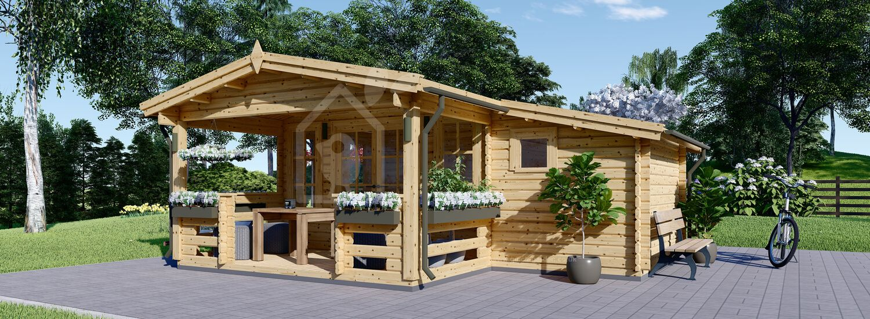 Log Cabin ISLA (66 mm), 6x5 m (20'x16'), 18 m² + 7 m² Terrace visualization 1