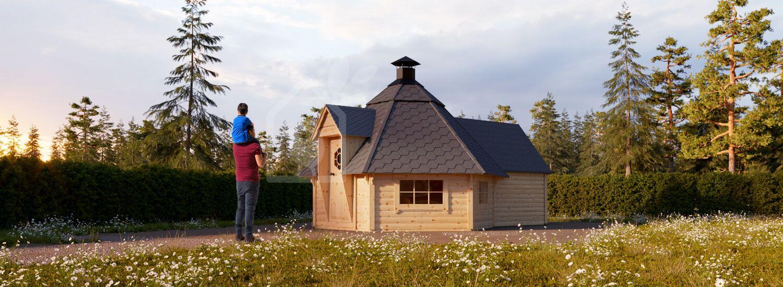 BBQ Hut With Extension 3.8m x 5.2m (12x17 ft ) 44 mm 9.2 m² visualization 1