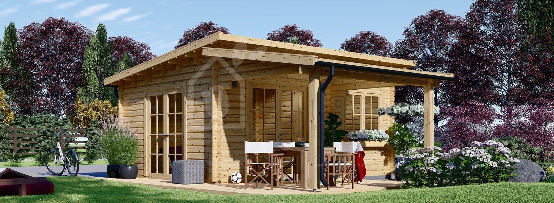 Garden Log Cabin HELEN (44 mm), 6x6 m, 24 m² With 12.5 m² Terrace visualization 1
