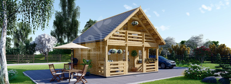Residential Log Cabin LIVINGTON (44+44 mm + Insulation PLUS, BRF), 50 m² visualization 1