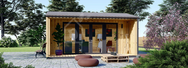 Garden Office TINA (44 + Cladding), 5.5x5 m (18'x16') visualization 1