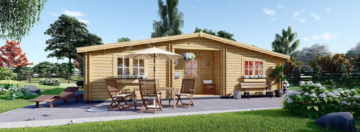 Insulated Residential Log Cabin FILL 10.5m x 6m (35x20 ft) Building Reg Friendly visualization 1
