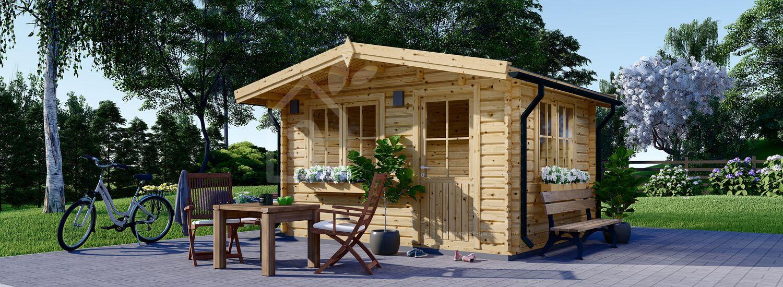 Garden Log Cabin DREUX (66 mm), 4x4 m (13'x13'), 16 m² visualization 1