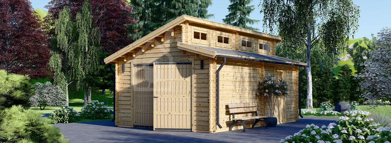 Single Wooden Garage TWIN (44 mm), 4x6 m (13'x20') visualization 1